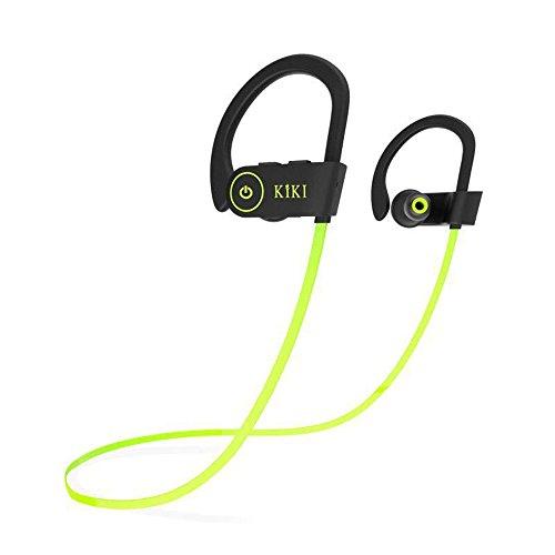 KIKI(キキ)bluetoothイヤホン 高音質スポーツワイヤレスイヤホン IPX7完全に防水.防滴 CVC6.0ノイズキャンセリング 高音質マイク付き 大容量バッテリー8時間継続再生可能 iphone.Android.windowsに対応(ブラック+グリーン) [並行輸入品]