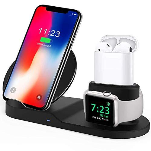 XMNX-WW Qi ワイヤレス充電器 急速 3 in 1充電スタンド apple watch スタンド Airpods/Apple Watch充電器 iPhone X/XS/XR/XS Max/ 8/8 Plus Qi 7.5W急速充電対応 Galaxy S9/S9 Plus/Note8/S8/S8 Plus/S7/S7 Edge/S6 Edge Plus 10W対応 その他Qi対応機種も適用 黒
