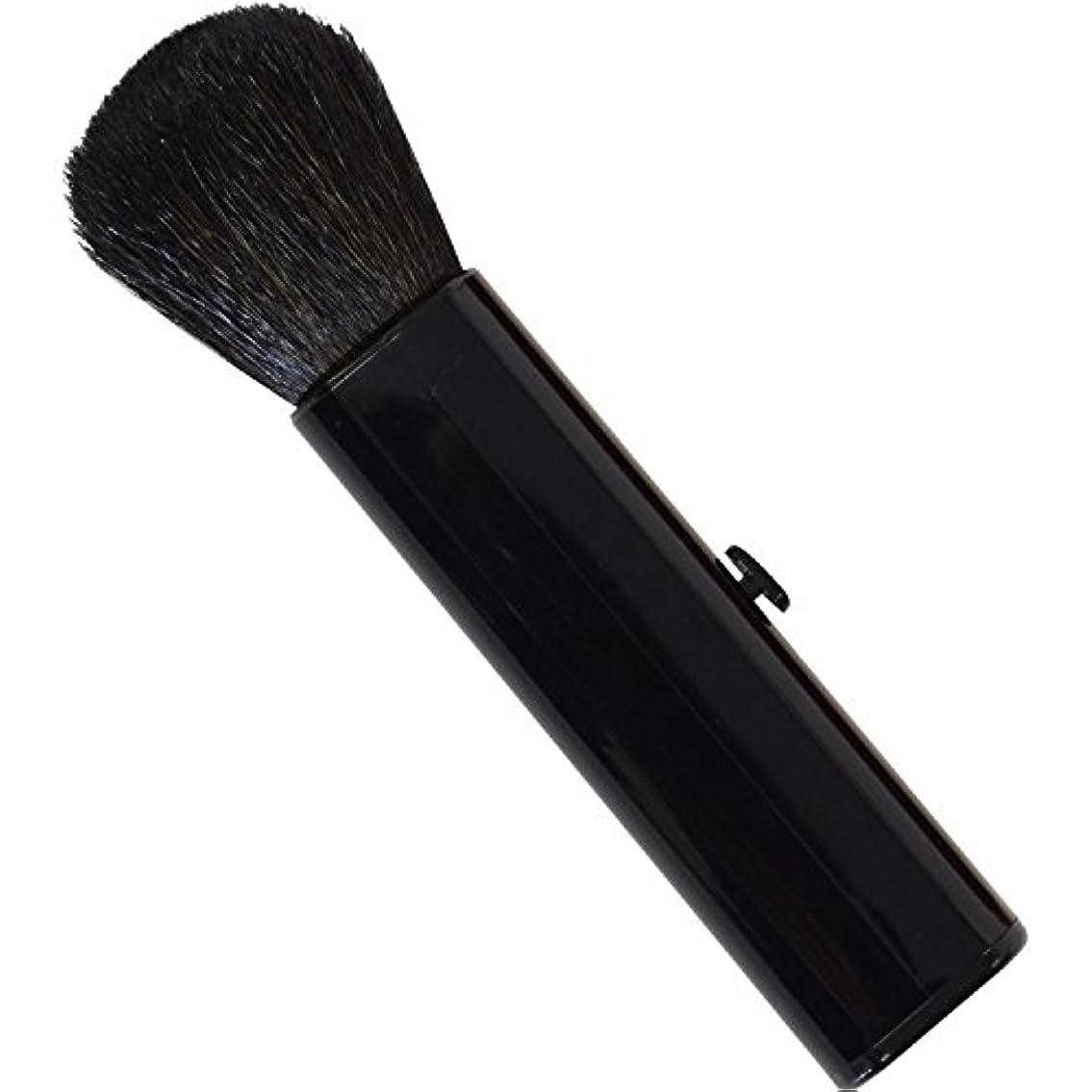 ささやき洗練けがをするSC-704BK 六角館さくら堂 スライドチークブラシ 黒 山羊毛100% シンプルなデザイン 便利なケース付き