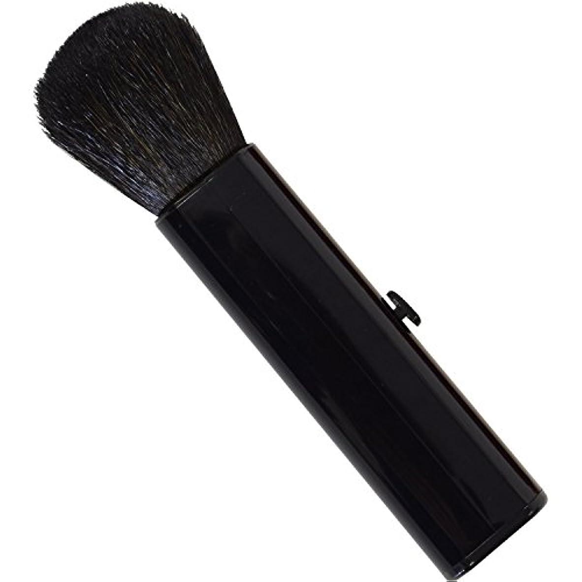 シングル生まれ再生的SC-704BK 六角館さくら堂 スライドチークブラシ 黒 山羊毛100% シンプルなデザイン 便利なケース付き
