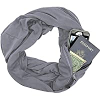 100% Cotton Women Infinity Scarf Wrap with Secret Hidden Zipper Pocket Fashion Circle Loop Travel Scarfs for Autumn Winter