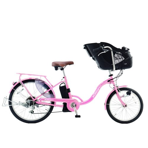電動自転車 子供乗せ【完成品でお届け】前輪20/後輪24インチ SUISUI KH-DCY07 可愛い ピンク マカロンピンク チャイルドシート自転車