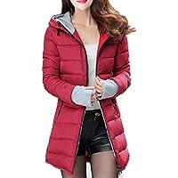 BESBOMIG Women's Cotton Coat Hooded Slim Fit Warm Overcoat - Long Coat Casual Jacket for Autumn Winter