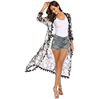 LuckyMore Women's 3/4 Sleeve Long Chiffon Floral Kimono Cardigan Crochet Lace Trim Beach Cover up