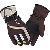 冬のライディングウォーム手袋厚手の防風防水スポーツグローブ、ブラウン