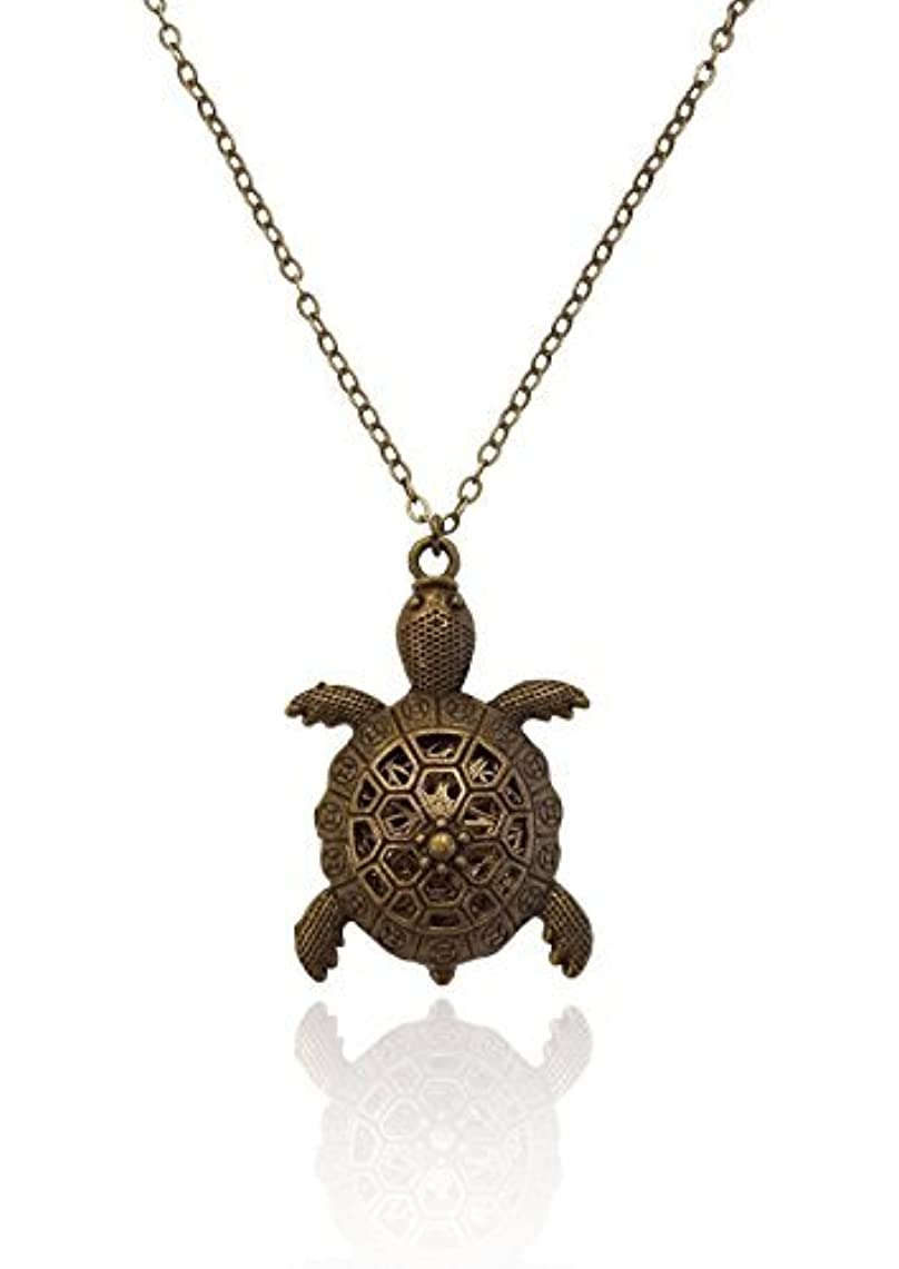 習字立ち向かう不注意Turtle Charm Bronze-Tone Brass-Tone Aromatherapy Necklace Essential Oil Diffuser Locket Pendant Jewelry Diffuser...