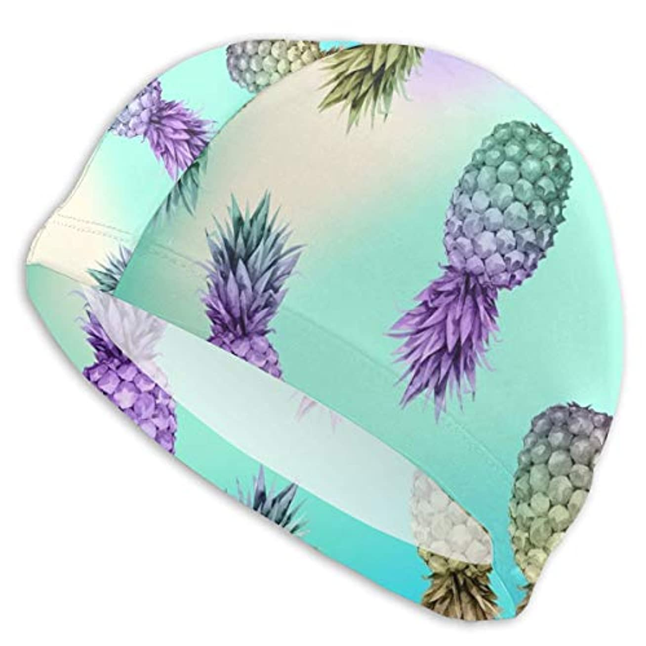 混合した挽く疎外カラフルなパイナップル(2)スイムキャップ スイミングキャップ 水泳キャップ 競泳 水泳帽 メンズ レディース 兼用 ゆったりサイズ フリーサイズ(28-33cm)
