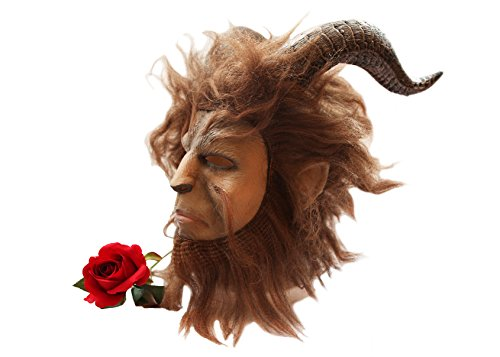 (SCGEHA) 野獣 マスク お面 美女と野獣 王子様 ハロウィン 仮装 コスプレ 赤いバラの花付き