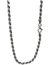 新宿銀の蔵 いぶし カットフレンチロープチェーン 長さ40~70cm (70cm) 幅3.0mm 薄め シルバー 925 ロング ネックレス チェーン メンズ sv