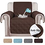 100% Waterproof Sofa 1 Seater Cover Chair Protectors Cover for Living Room Non Slip Furniture Cover for Dogs/Pets, Thick Quilted with Strap and Non Slip Backing (1 Seater - Brown)
