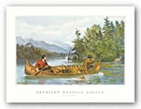 """Americanハンティングシーンby Currier and Ives 13.5"""" x8.5""""アートプリントポスター"""