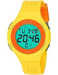 Goenn 可愛い 多機能 腕時計 LCD表示 スタンダード クォーツ デジタルモデル シリコンバンド ストップ ウォッチ 高品質 オシャレ 50M防水 スポーツ アウトドア レディース ガールズ (イエロー)