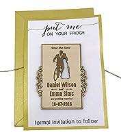 カスタム彫刻木製マグネットPersonalizedギフト20素朴な結婚を保存日付カードFavor with Envelopes 50 Piece ブラウン MG123-G