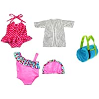Doll Bathing Suit Set 4 Piece for 13-18 inch Doll clothes