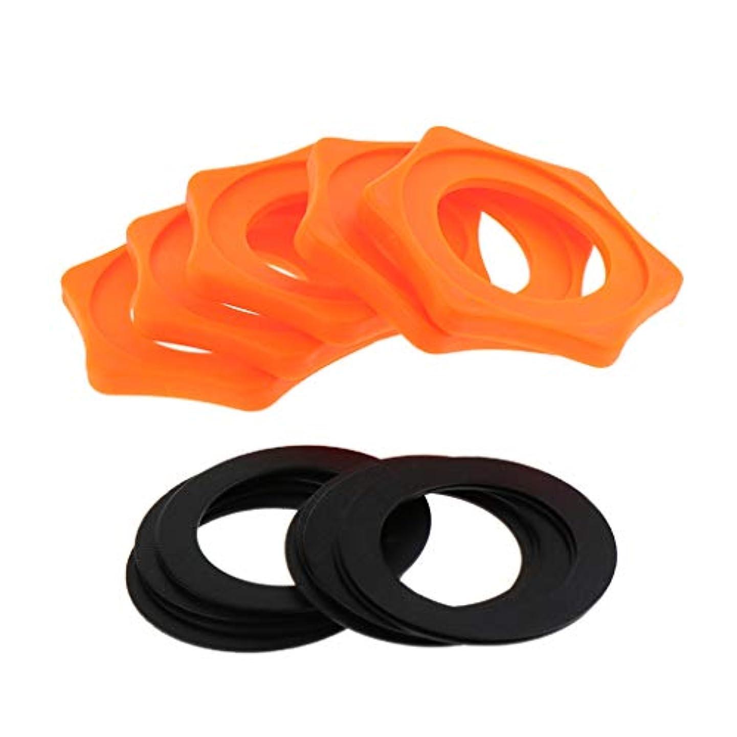 電話するヨーグルト上に築きますF Fityle マイクスリップリング 六角形 滑り止め マイクホルダー 飾り 内径約31mm 全2色 5セット - オレンジ