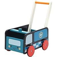 Labebe 子供用ウッドウォーカー プッシュ&プル手押し車おもちゃ ワゴントイ カタカタ - ブルー警察車