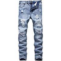 FREDD MARSHALL Men's Skinny Slim Fit Ripped Distressed Stretch Jeans Pants