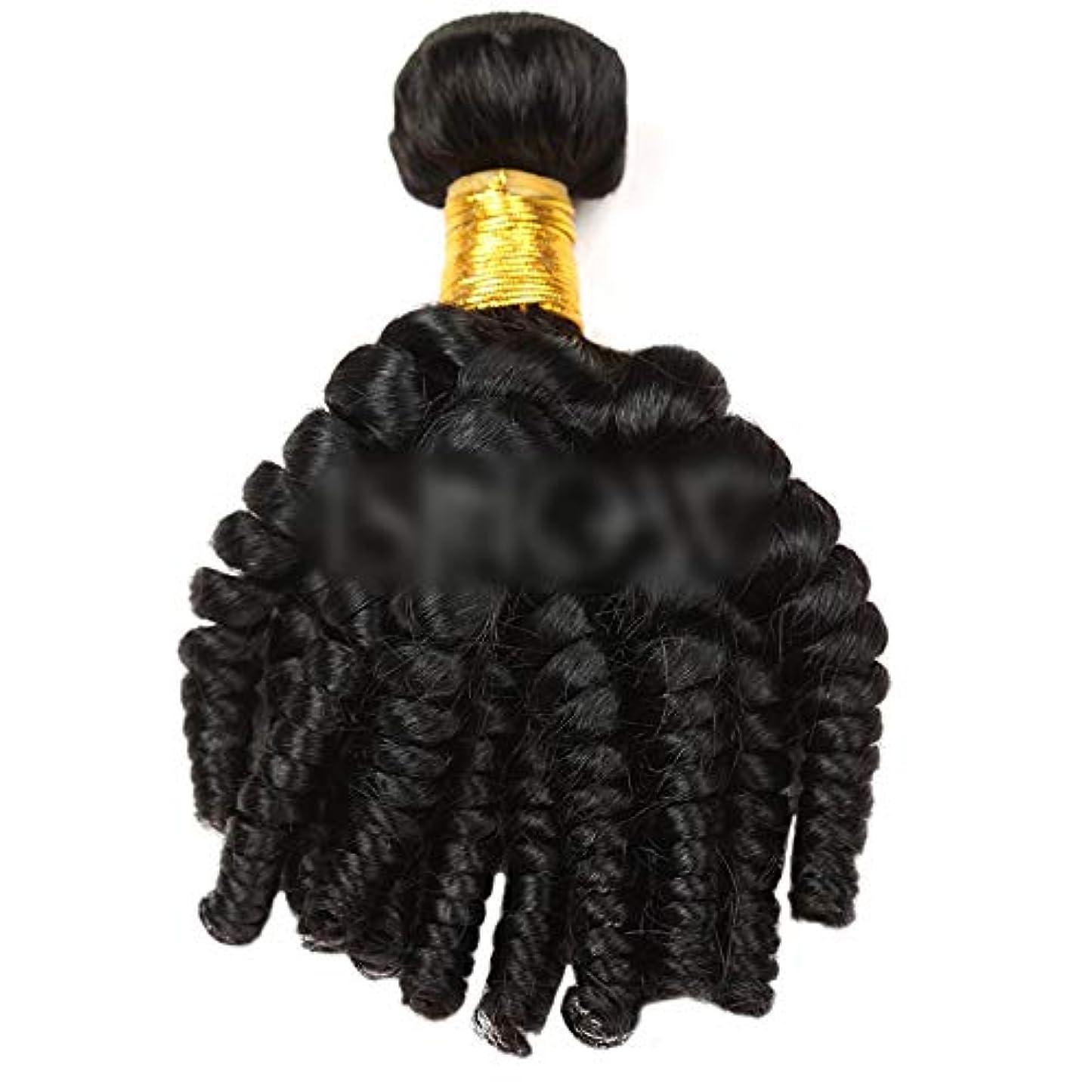 食欲息子ニンニクYESONEEP Funmi巻き毛人間の髪の毛の束自然な黒髪エクステンション1バンドル髪横糸複合毛レースのかつらロールプレイングかつらロングとショートの女性自然 (色 : 黒, サイズ : 12 inch)