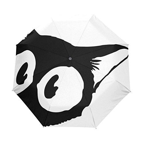 マキク(MAKIKU) 折り畳み傘 自動開閉 軽量 ワンタッチ 日傘 晴雨兼用 uvカット かわいい 黒猫 猫柄 ホワイト 紫外線対策 頑丈な8本骨 耐風 撥水 グラスファイバー 収納ケース付