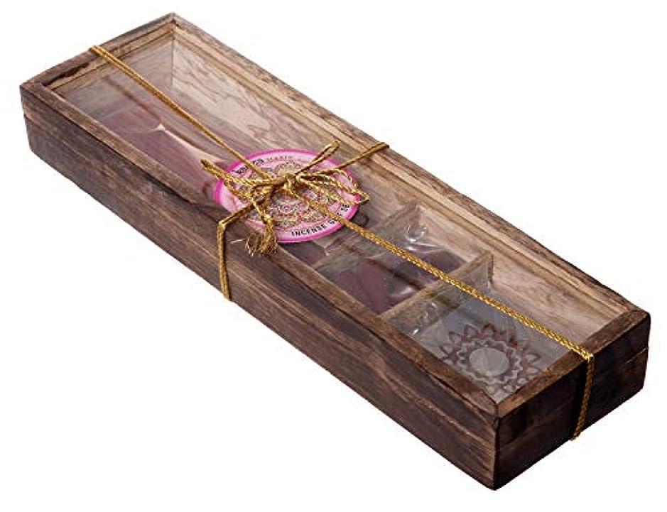 Karma Scents プレミアム木製お香ギフトセット – 30本 – コーン10本と香ホルダースタンド