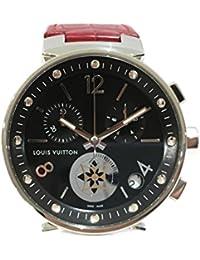 [ルイヴィトン] LOUIS VUITTON タンブール・ムーンスターGM 腕時計 WATCH レッド レザーベルト Q8D11 [中古]