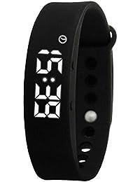 黒はスマート歩数計の腕時計を見て、男の子の女の子の男性の女性のブレスレットのためのファッションスポーツデジタル時計を見導きました
