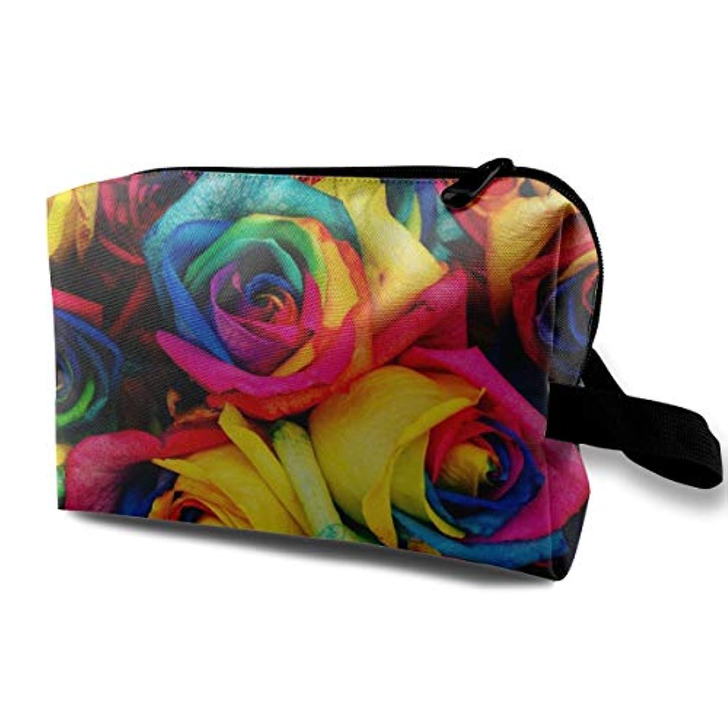 所有権湖今日Colorful Rainbow Rose Flowers 収納ポーチ 化粧ポーチ 大容量 軽量 耐久性 ハンドル付持ち運び便利。入れ 自宅?出張?旅行?アウトドア撮影などに対応。メンズ レディース トラベルグッズ