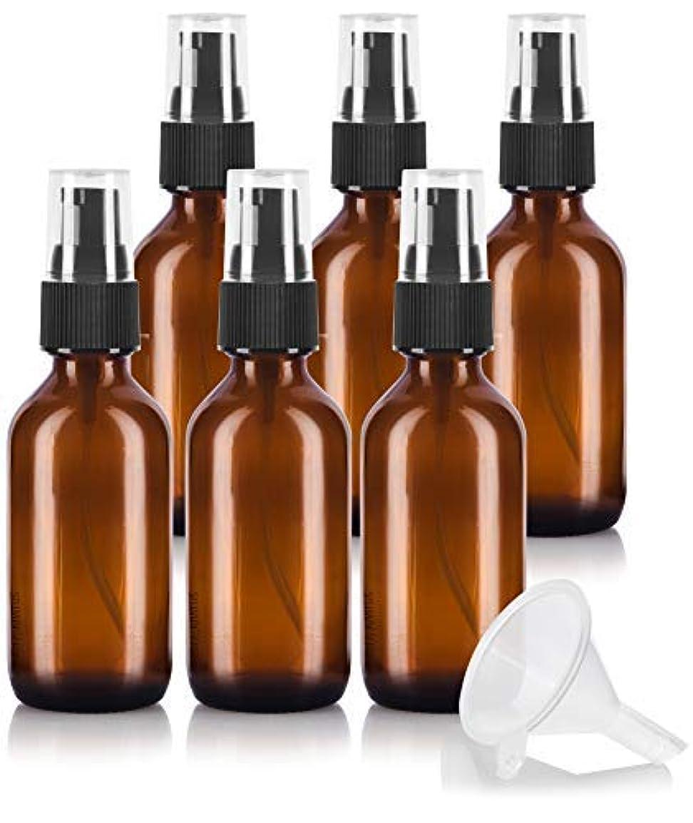 震え破産破裂2 oz Amber Glass Boston Round Treatment Pump Bottle (6 pack) + Funnel and Labels for essential oils, aromatherapy...