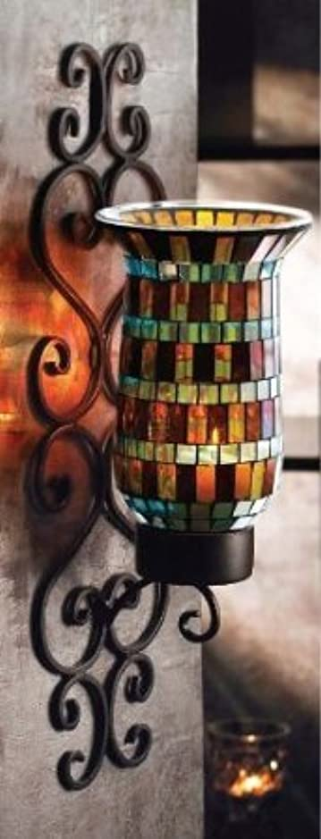 チョコレート蜂ご意見アメリカン アトリエ モザイク ガラス メタル ウォール 燭台 ライティング 4-1/2 * 5 * 16インチ【並行輸入品】+NONOKUROオリジナルミニミニクロス