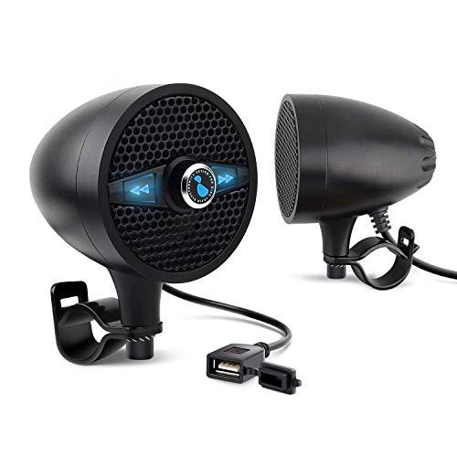 LEXIN LX-S3 blackステレオbluetooth付き防水 オーディオ スピーカー 50Wバーマウント FMラジオ付 ……
