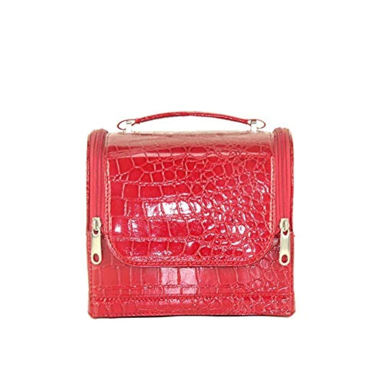 効率的にセージやる化粧オーガナイザーバッグ 女性の女性の旅行とジッパーと折りたたみトレイで毎日のストレージのための美容メイクアップのためのポータブル化粧品バッグ 化粧品ケース