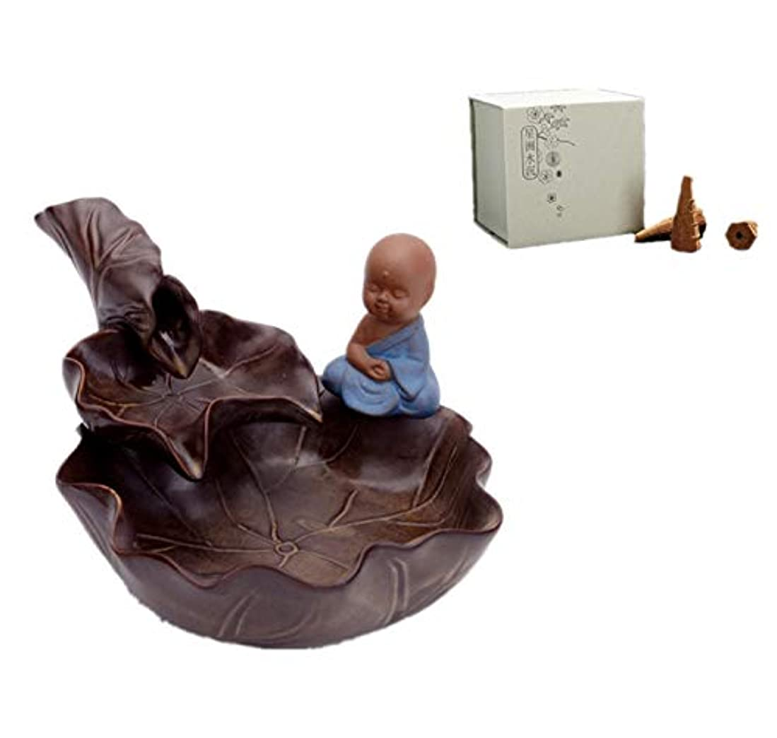 楕円形不機嫌そうなロッカーXPPXPP Reflux Incense Burner With 40 Reflux Cones, Household Ceramic Reflux Cone-Shaped Candlestick Burner