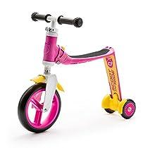 スクート&ライド ハイウェイベビープラス ピンク/イエロー 工具不要で切替できるキッズスクーター⇔ペダルなし自転車の2wayスクーター