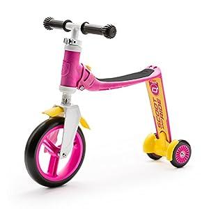 スクート&ライド ハイウェイベビープラス 工具不要で切替できるキッズスクーター⇔ペダルなし自転車の2wayスクーター ピンク/イエロー