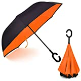 Luckyauction 逆さ傘 逆折り式傘 長傘 手離れC型手元 車用傘 晴雨兼用 長傘 逆傘【男女兼用】逆さま傘 二重傘 (オレンジ)
