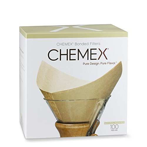 Chemex FSU-100 Bonded Unbleached Pre-folded Square Coffee Filters