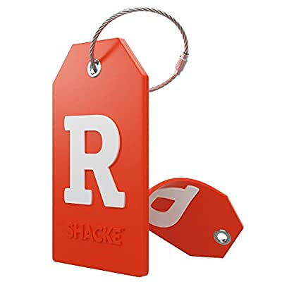 Initial Luggage Tag with Full Privacy Cover and Stainless Steel Loop (Orange)