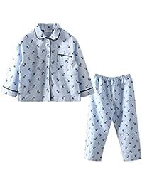 LittleSpring春秋 男の子 女の子 男女兼用 開襟 折り襟 長袖パジャマ 前向き 寝間着上下セット
