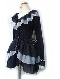 フリルカットソー サイドスピンドル プチ姫袖 白黒チュール ティアードフリル