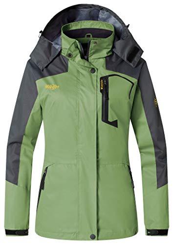 Wantdo Women's Casual Sportswear Rain Jacket Hooded Waterproof Raincoat(Green,Large)