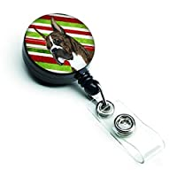 Caroline's Treasures Boxer Candy Cane Holiday Christmas Retractable Badge Reel Multicolor (SS4577BR) [並行輸入品]