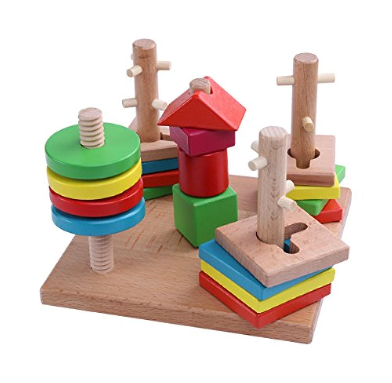 ベリーPresident ( TM )カラフルクリエイティブ木製ジオメトリStacker列形状ソートBuilding Blocksセット教育認識機能インテリジェンスパズルMatching Toy for Kids