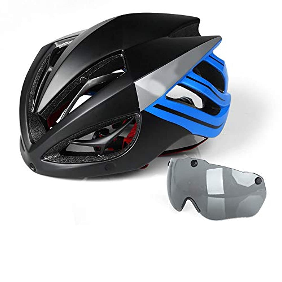 しおれた鑑定絶妙HYH キール乗馬ヘルメットゴーグルメガネ一体成形男性と女性の通気性の安全帽子マウンテンバイク機器 いい人生 (Color : Blue)