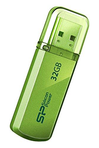 シリコンパワー USBメモリ 32GB USB2.0 キャップ式 アルミボディ 永久保証 Helios 101 グリーン SP032GBUF2101V1N