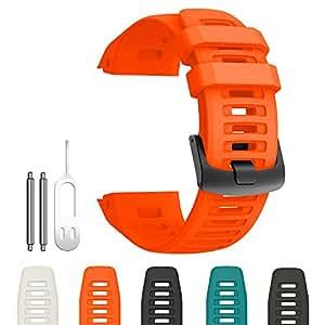 GARMIN ガーミン Instinct ベルト バンド シリコン製 工具付き5色 (オレンジ)