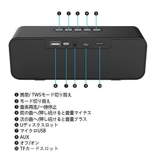 『AKUSA Bluetooth スピーカー 高品質 高音質 臨場感満点 FMラジオ ハンズフリー通話 iPhone iPad Android パソコンなどに対応(ブラック)』の4枚目の画像