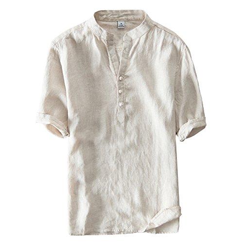 [RSWHYY] メンズ チャイナ風 シャツ 夏 半袖 中華ボタン 薄手 簡約 トップス 日常 カーキ XXXL