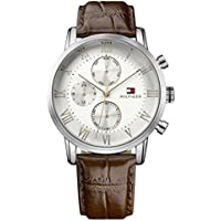 Tommy Hilfiger Men's Sophisticated Sport Stainless Steel Quartz Watch with Leather Strap, Brown, 21 (Model: 1791400)