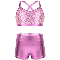 iEFiEL Girls' Kids Active Athletic Set Dance Sport Outfits Sequins Tank Top and Booty Short Gymnastics Dancing Clothes