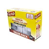 Glad パーティーパック カトラリーセット クリア 240 Piece Set of Disposable Party Utensils